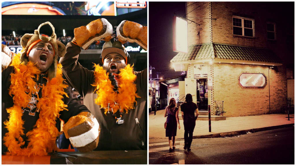 Left: Cleveland Browns fans. Right: Ray's Happy Birthday Bar.