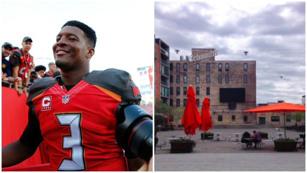 Left: Tampa Bay Buccaneers quarterback Jameis Winston. Right: The Piazza at Schmidts.