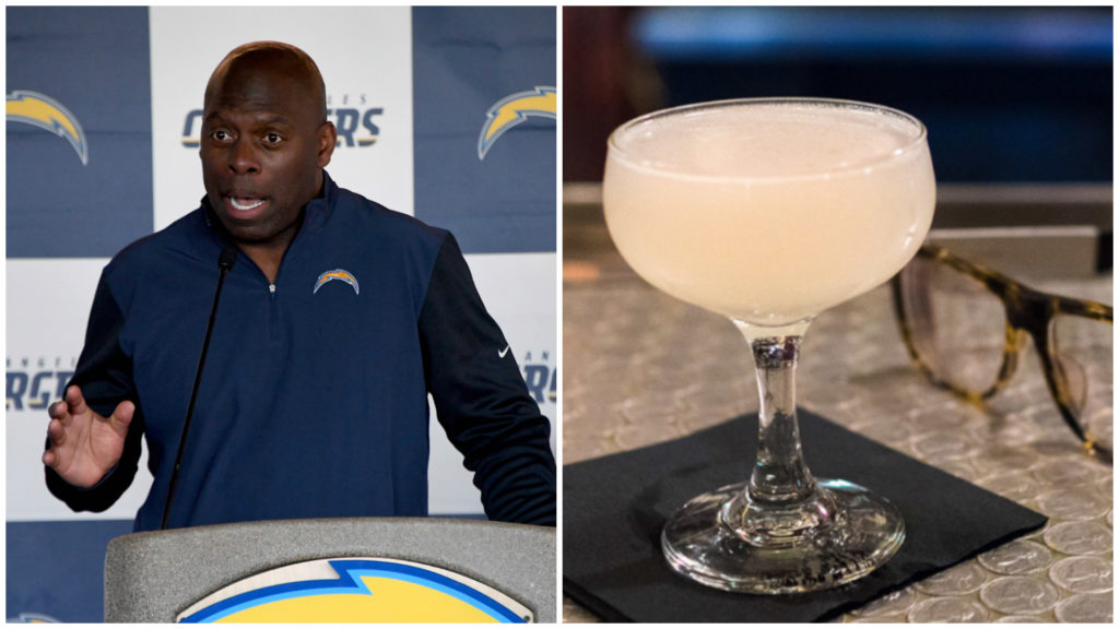 Left: os Angeles Chargers coach Anthony Lynn. Right: A Hop Sing Laundromat cocktail.