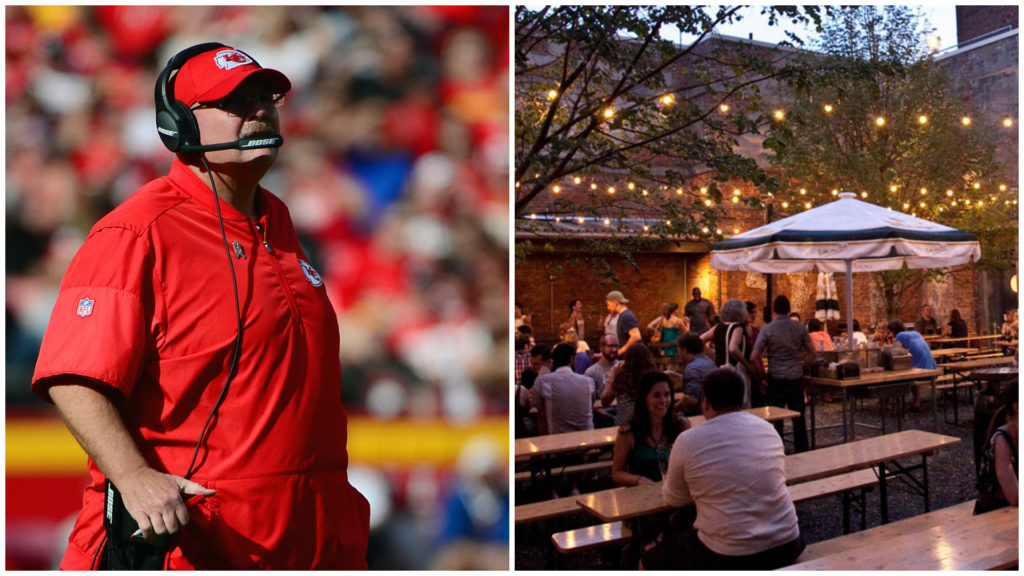 Left: Kansas City Chiefs head coach Andy Reid. Right: Frankford Hall.