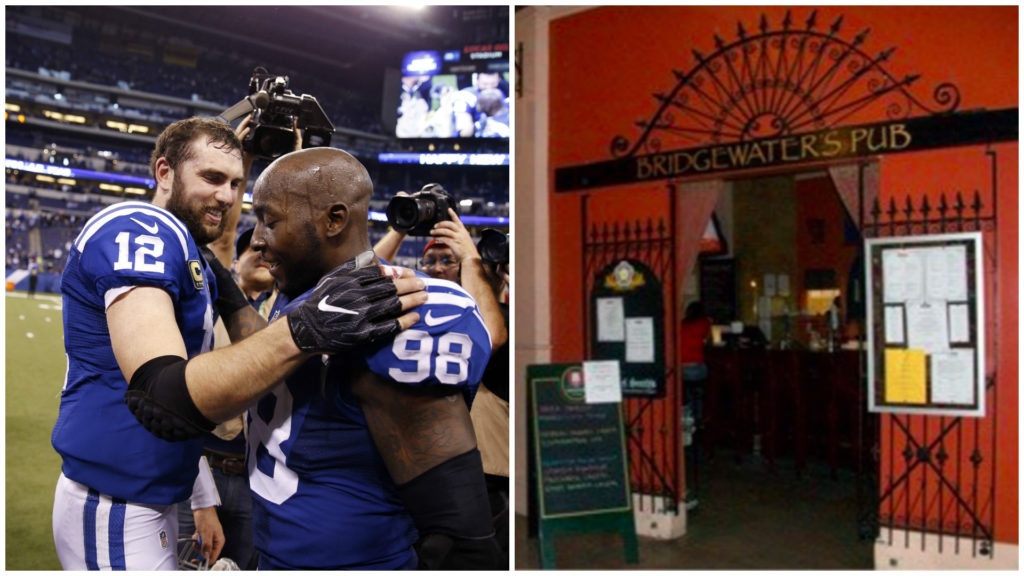 Left: Indianapolis Colts linebacker Robert Mathis (98) and quarterback Andrew Luck. Right: Bridgewater's Pub