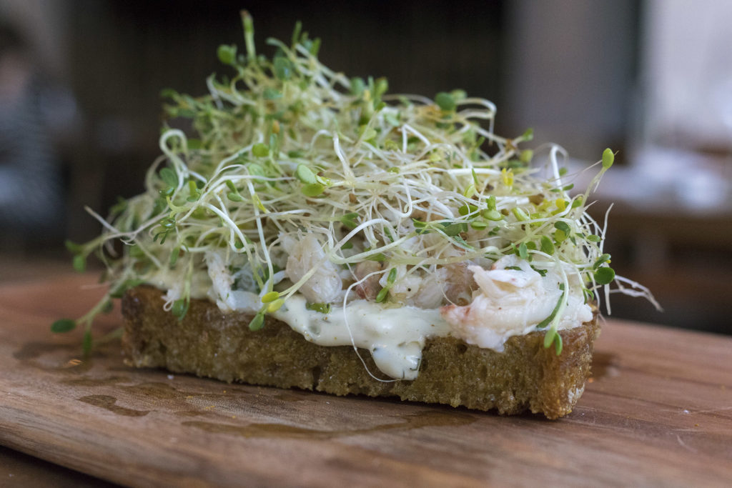 Vadouvan-soaked toast with peekytoe crab