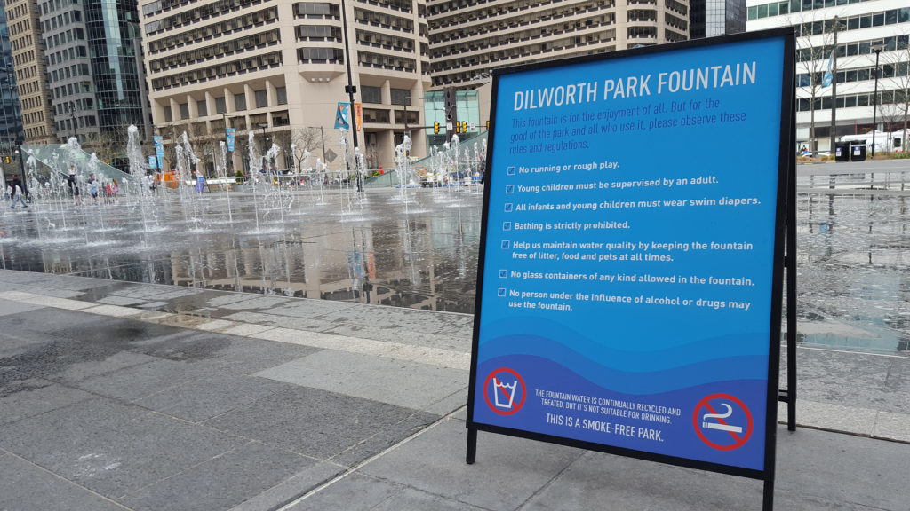 The Dilworth Park signs are new for 2017.