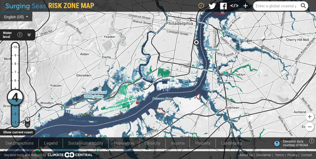 "South and Southwest Philadelphia around 2030, should pollution go unhampered. Blue patches correspond to land to that would be underwater. Green denotes land that would be ""below, but isolated."""