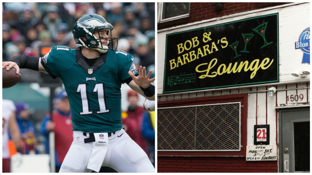 Left: Philadelphia Eagles quarterback Carson Wentz Right: Bob and Barbara's