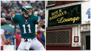Left: Philadelphia Eagles quarterback Carson Wentz Right: Bob and Barbara's