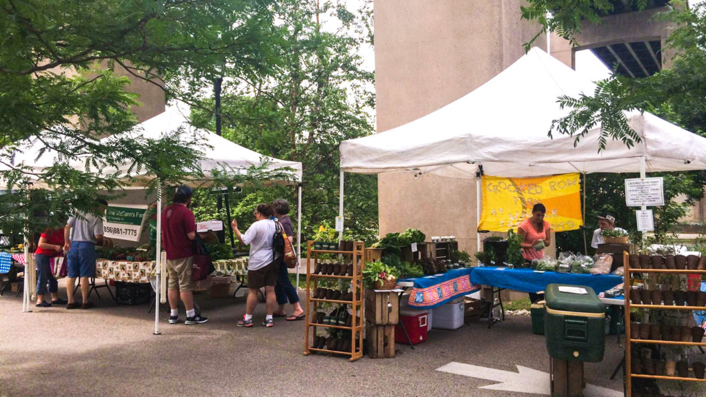 The East Falls Farmers Market uses the same site that will become a beer garden this summer