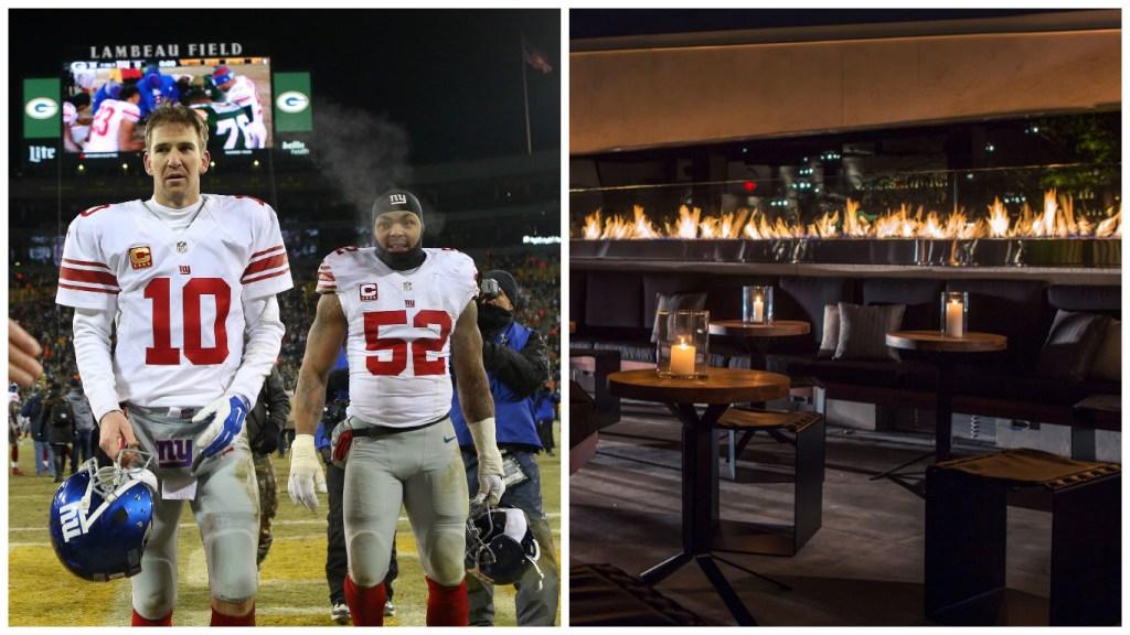 Left: New York Giants quarterback Eli Manning (10) and outside linebacker Jonathan Casillas (52). Right: Stratus Rooftop Lounge.