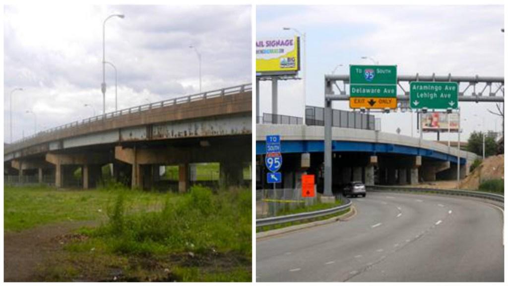 The old Girard Avenue bridge over Aramingo Avenue and the new Girard Avenue bridge.