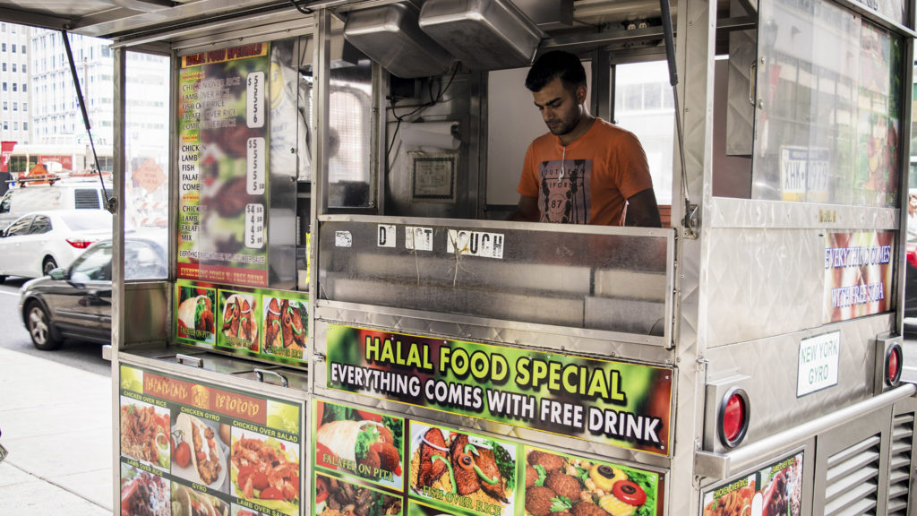 Owner Kashif Amad in his halal cart