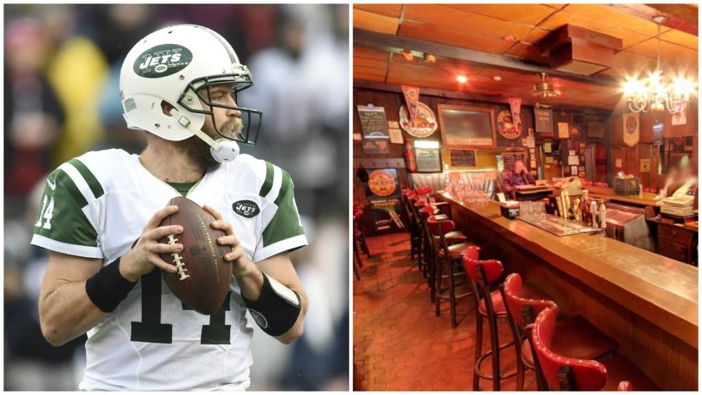 Left: New York Jets quarterback Ryan Fitzpatrick. Right: McGlinchey's.