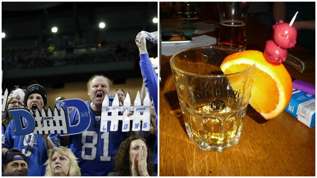 Left: Detroit Lions fans. Right: A shot of Jack Daniels.