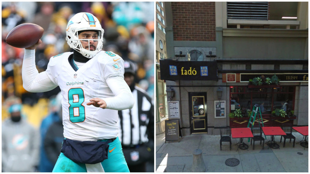 Left: Miami Dolphins quarterback Matt Moore. Right: Fado bar.