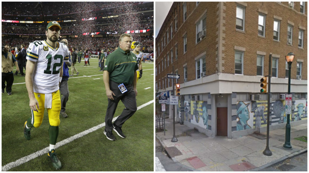 Left: Green Bay Packers quarterback Aaron Rodgers. Right: Dirty Franks.