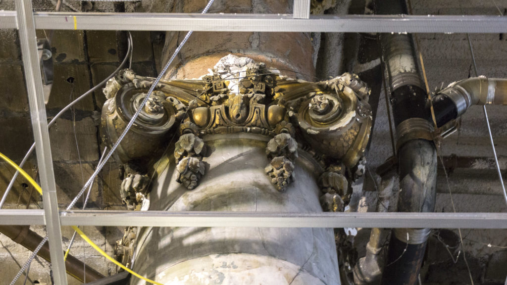 Ornate column capitals were hiding above the old dining room ceiling
