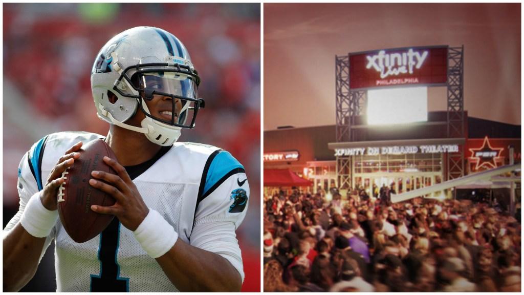 Left: Carolina Panthers quarterback Cam Newton. Right: Xfinity Live!