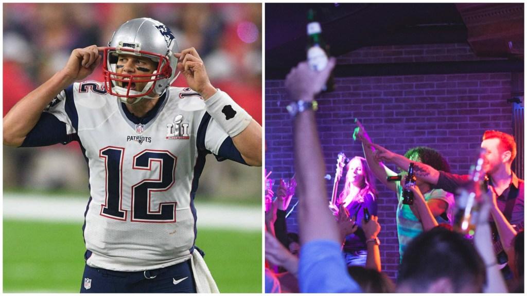 Left: New England Patriots quarterback Tom Brady. Right: Inside Howl at the Moon.