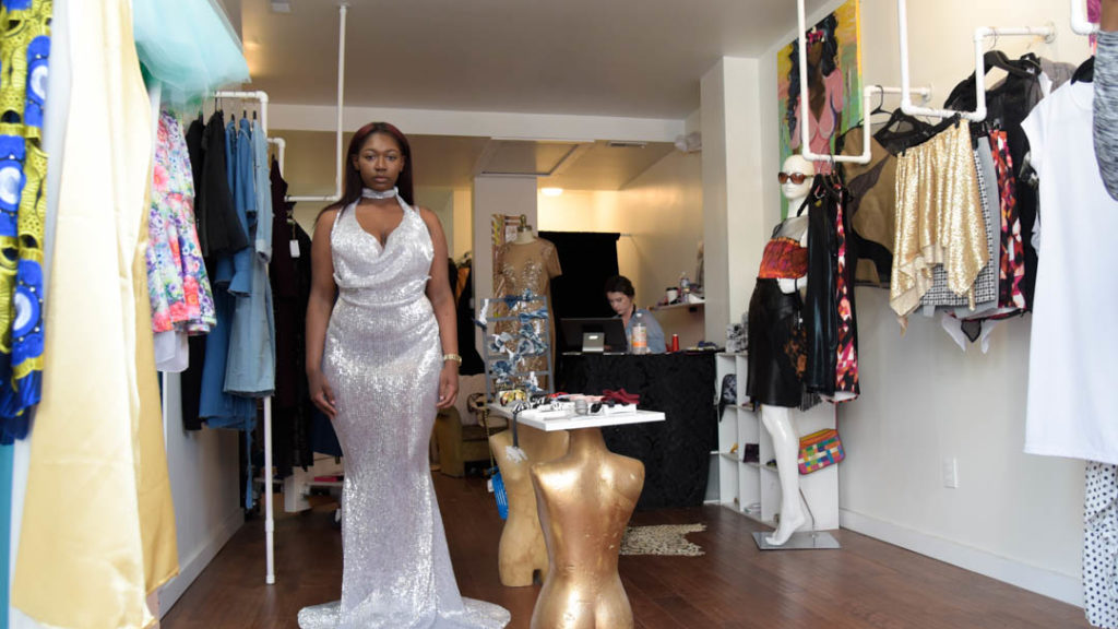 Shamya Mitchell, a West Philly teen, after trying on her Kendall Jenner-inspired dress.