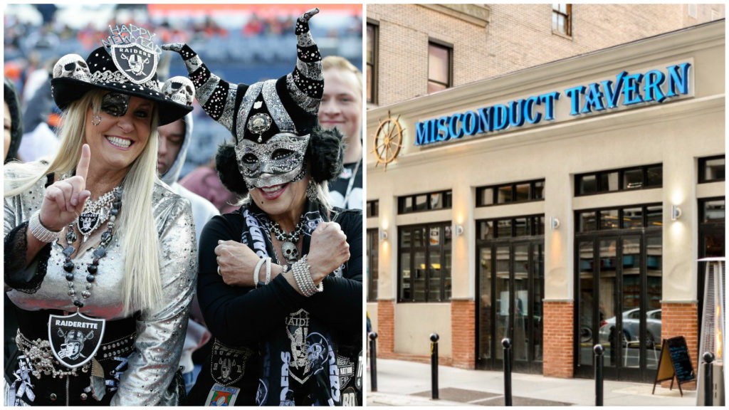 Left: Oakland Raiders fans before a game against the Denver Broncos. Right: Misconduct Tavern.