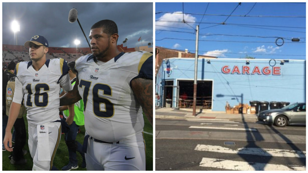 Left: Los Angeles Rams quarterback Jared Goff (16) and guard Rodger Saffold (76). Right: Garage Fishtown.