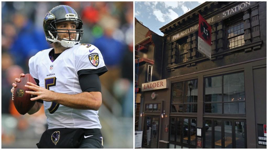 Left: Ravens quarterback Joe Flacco. Right: Ladder 15.