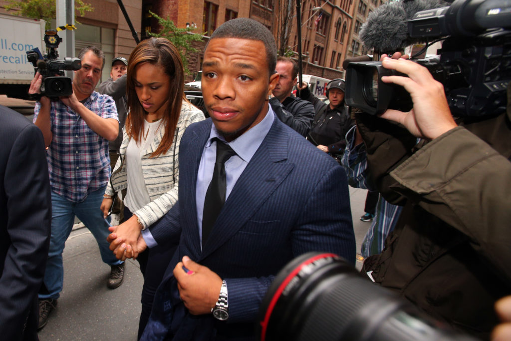 Ray Rice never played in the NFL after his suspension for hitting his now-wife in an Atlantic City elevator.