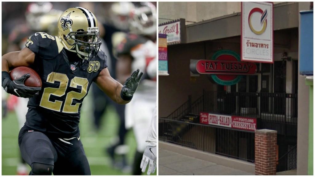 Left: New Orleans Saints running back Mark Ingram. Right: Fat Tuesday