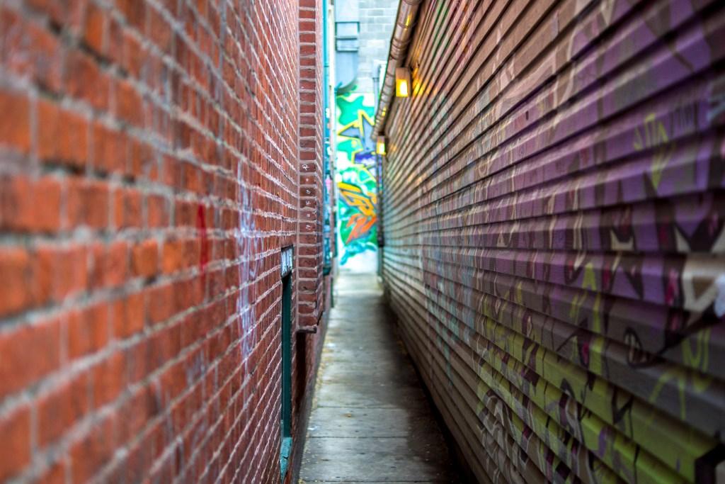 The entrance to Schulson's Graffiti Bar behind Sampan