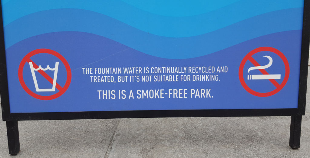 """The bottom of the 2017 signs clearly states the water is """"not suitable for drinking."""""""