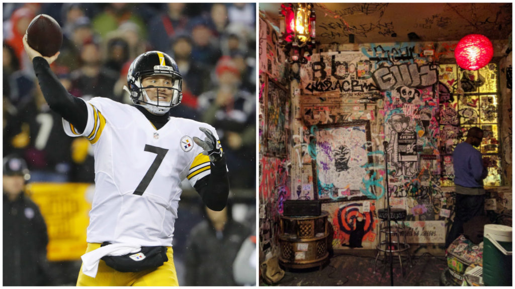 Left: Pittsburgh Steelers quarterback Ben Roethlisberger. Right: Tattooed Mom.
