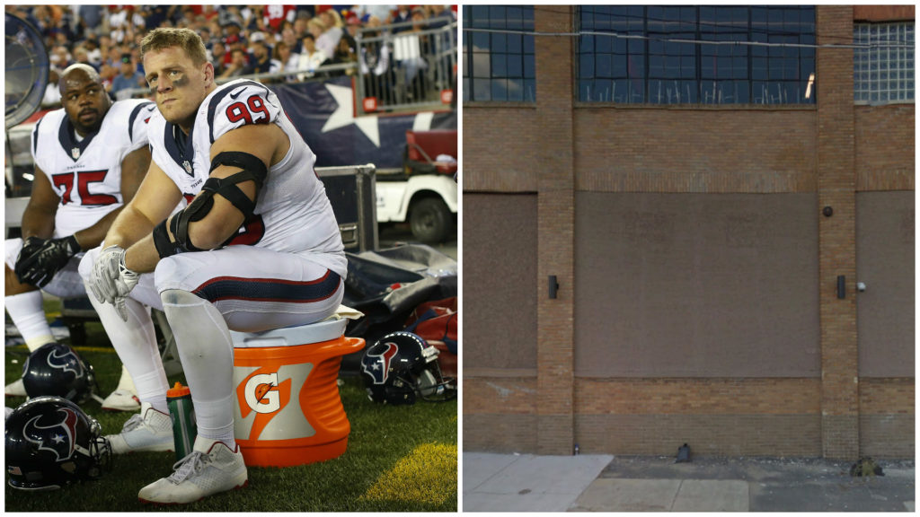 Left: Houston Texans defensive end J.J. Watt (99) and nose tackle Vince Wilfork (75). Right: The space that could have been Travinia. RIP.