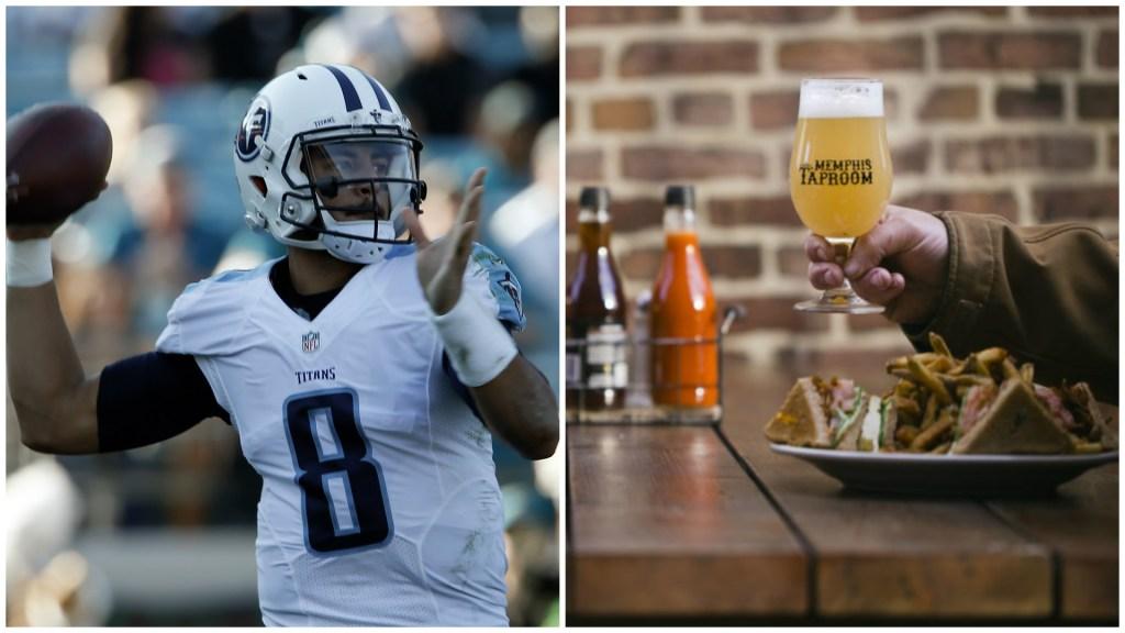 Left: Tennessee Titans quarterback Marcus Mariota. Right: Memphis Taproom.