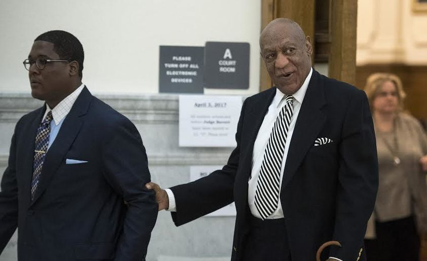 Bill Cosby leaves Montgomery County Courtroom A for a lunch break during a pretrail hearing in his sexual assault trail April 3, 2017 in Norristown, PA.