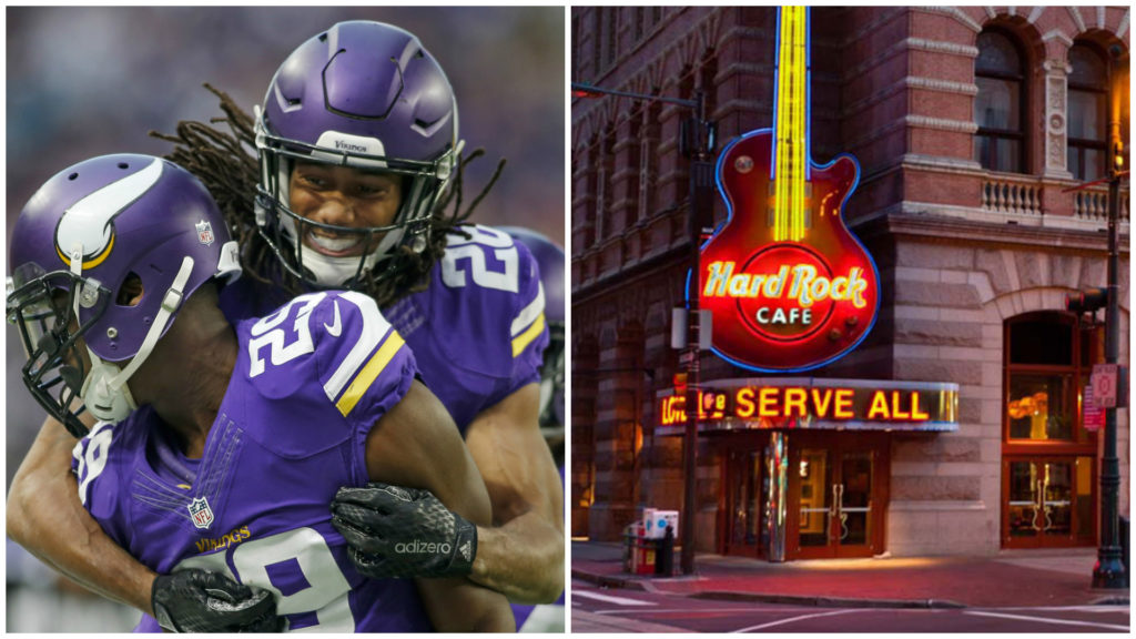 Left: Minnesota Vikings cornerback Xavier Rhodes (29) celebrates with cornerback Trae Waynes (26) Right: Philly Hard Rock Cafe