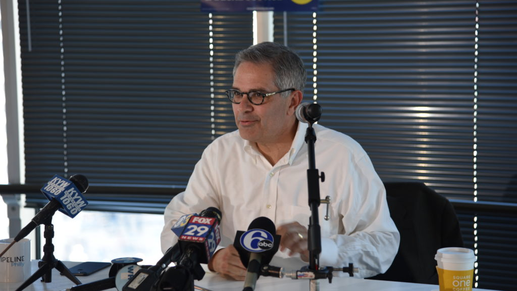 Democratic nominee for DA Larry Krasner addresses the Philadelphia media the day after he won the primary.