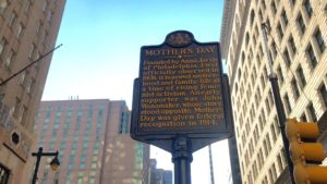 This historical marker at Market and Juniper tells of Mother's Day's history here in Philly.