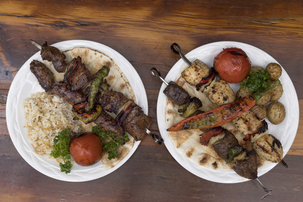 Kebab platters come loaded with rice or potatoes