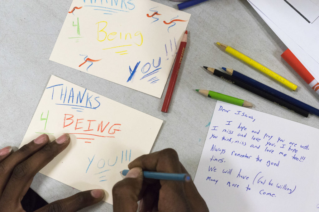 Art sessions at Broad Street Ministry include the chance to make cards for loved ones