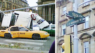 This is not Philly. These shots are from Glasgow in 2011, on a set meant to look like Philadelphia for 'World War Z.'