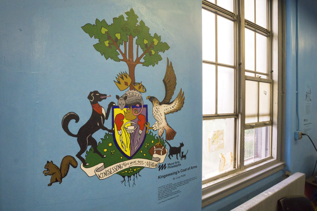 Coat of arms for Kinsessing Rec, painted in collaboration with Mural Arts