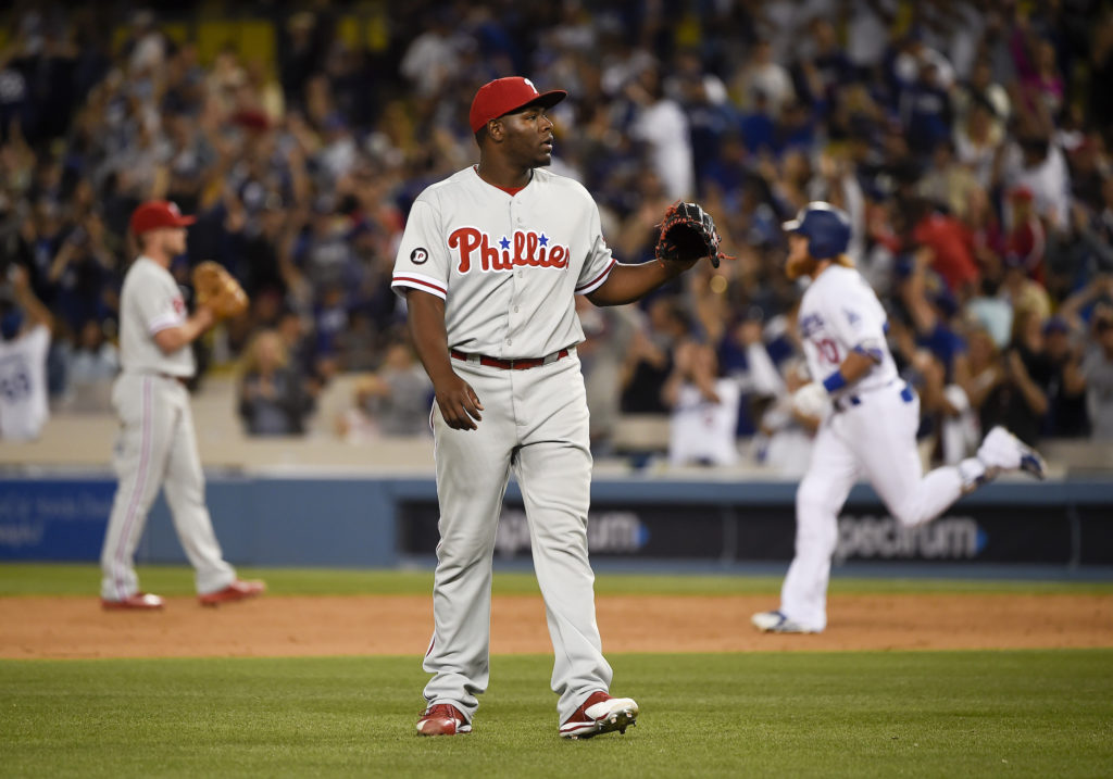 Hector Neris reacting to a blown save against the Dodgers.