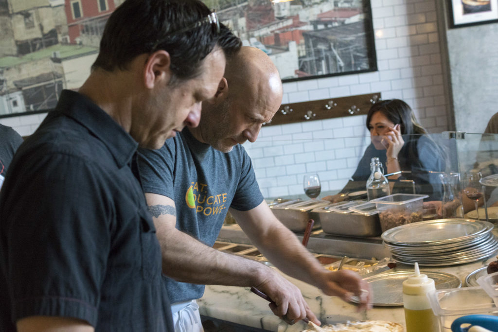 David Joachim and Marc Vetri doing research for Mastering Pizza