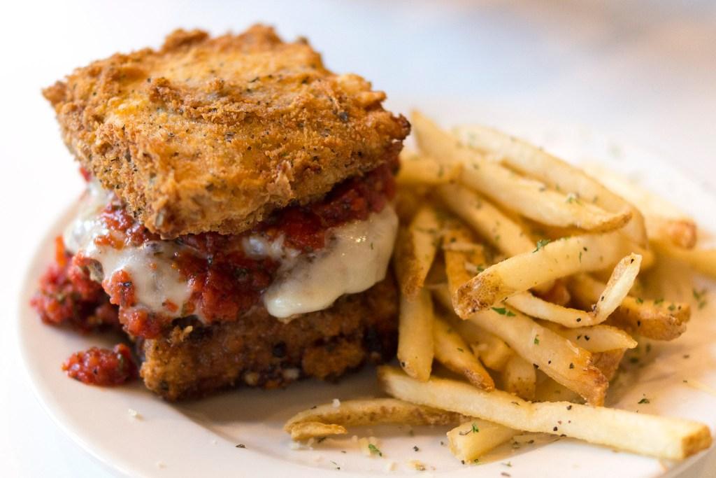 A stunt burger at PYT — with fried lasagna as buns