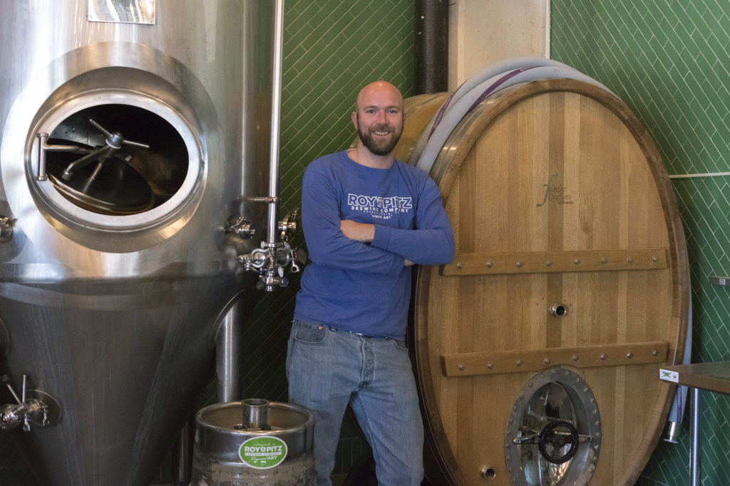 Head brewer Chris Collier with his foeder