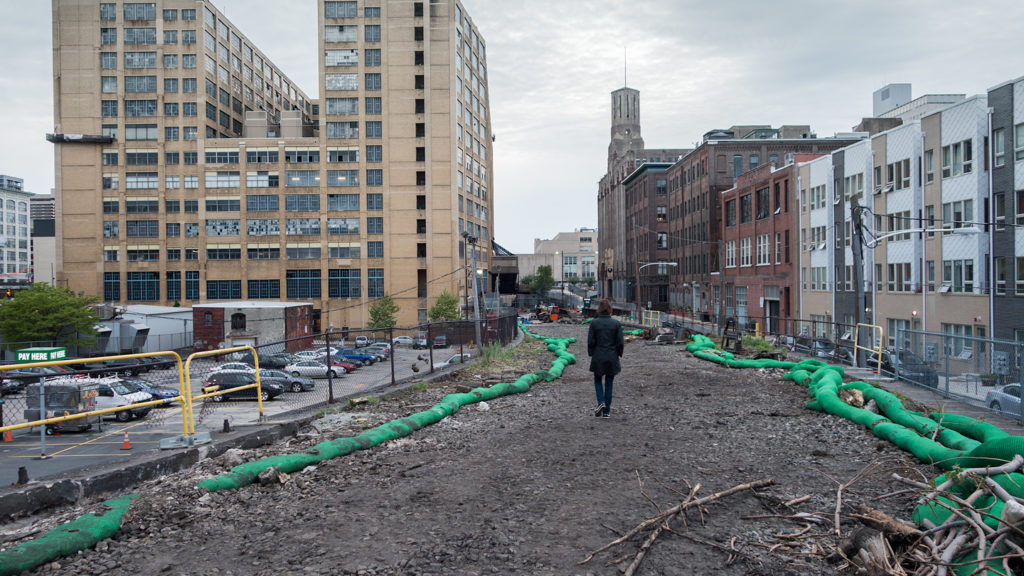 Atop phase one of the Rail Park construction site between Broad and Noble streets and 11th and Callowhill.