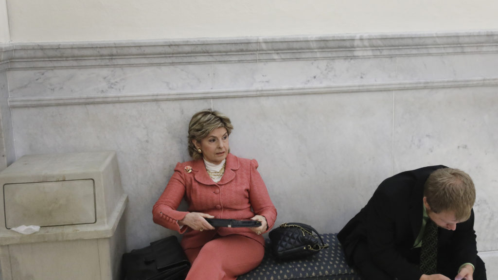 Attorney Gloria Allred waits to enter the courtroom for the fifth day of Bill Cosby's sexual assault trial at the Montgomery County Courthouse in Norristown, Pennsylvania, U.S., June 9, 2017.