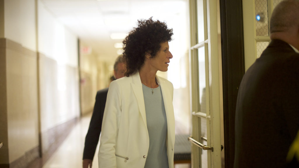Bill Cosby accuser Andrea Constand arrives at the Montgomery County Courthouse on the third day of Cosby's sexual assault trial.