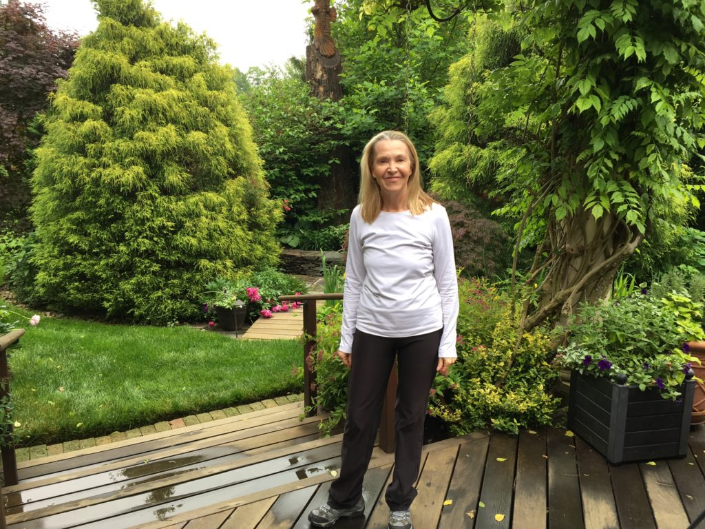 Jennifer Stein, founder of Mainline MUFON, in the backyard of her Radnor home.