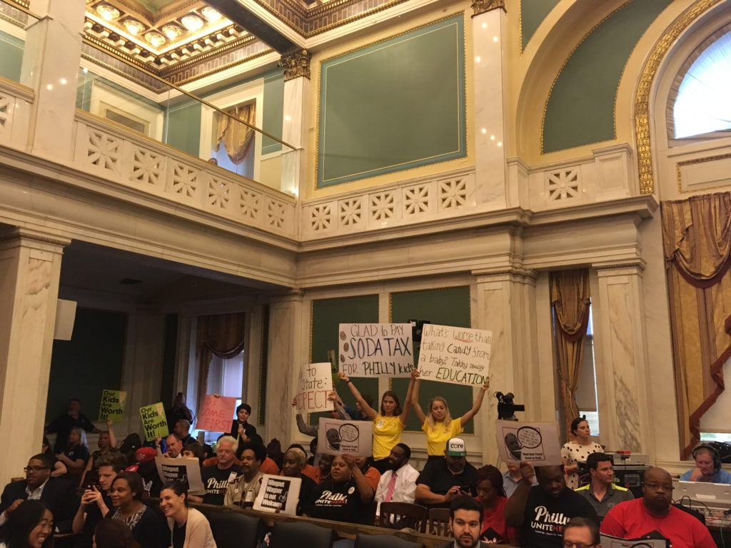 Proponents of the soda tax shut down Harrisburg-led hearing in City Hall.