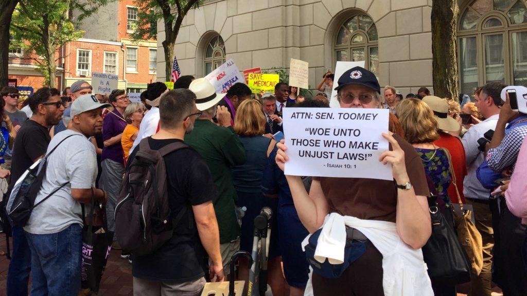 Protesters gathered outside Sen. Pat Toomey's state offices for 24 hours in June 2017 to protest the Senate GOP's healthcare plan.